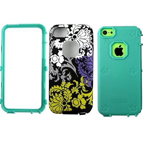 iPhone 5C Case,Lantier vintage motif de fleurs [Hard PC+Soft TPU silicone][antichoc][Thin Slim Fit][Léger] hybride double couche Armure Defender pour Apple iPhone 5C Violet Green