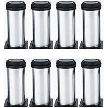Qrity 8 unidades Patas de Metal muebles regulables armario de cocina pies redondo - Metal cromado - Altura ajustable (Total: 80-95mm)