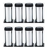Qrity 8 unidades Patas de Metal muebles regulables armario de cocina pies redondo - Metal cromado -...