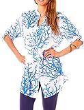 Damen Sommer Strand Oversize Tunika Bluse Lang Longbluse Weit Halbarm Kragenlos Baumwolle Gemustert Korallen Print Weiß Türkis
