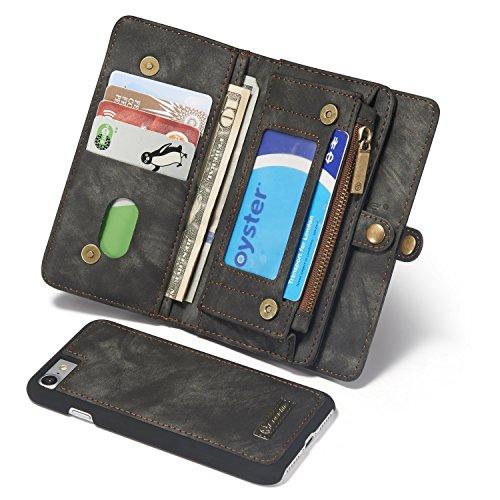 Wallet und Geldbörse für Apple iPhone 8 4.7 Zoll - 2in1 Geldbeutel Portmonee Schutzhülle Case Etui Handyhülle Tasche Etui Hülle Schwarz
