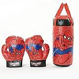 HEHE Bambini I Bambini Spider MMA Calcio Sacco Boxe con I Guanti Hanging Muay Thai Punzonatura del Sacchetto di Sabbia con Guantoni da Boxe di Compleanno Giocattoli,Rosso