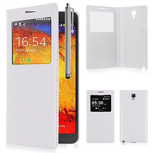 VCOMP® PU-Leder Schutzhülle mit Sichtfenster für Samsung Galaxy Note 3 Neo SM-N7505 + Großer Eingabestift - WEISS