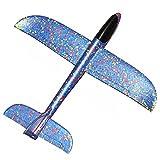 E-db Schiuma aereo giocattolo, Aeroplano inerzia giocattolo mano lancio aeroplano per bambini Bambini Ragazza come regalo (Blu)