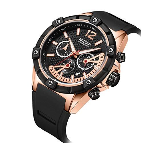 SW Watches MEGIR Männer Sport Chronograph Uhren Silikon Schwarz Gold Große Zifferblatt Uhr Wasserdicht Mode Herren Uhren Top-Marke Luxus Quarz-Armbanduhr (Große Marke-uhren)