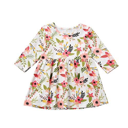 Weihnachten Kleinkind Kind Baby Kleid Lonshell Kurz Ärmel Mädchen Blumen Kleidung Prinzessin Kostüm mit Party Kleider (2T, Rosa) (Prinzessin Kostüm 2t)