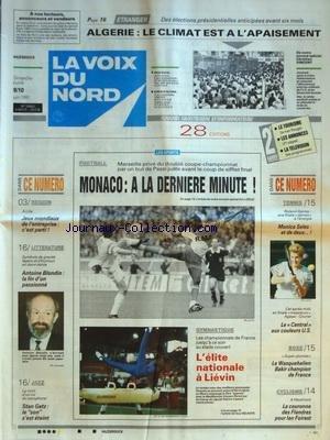 VOIX DU NORD (LA) [No 14602] du 09/06/1991 - ANTOINE BLONDIN - LA FIN D'UN PASSIONNE - JAZZ - STAN GETZ - LES SPORTS - JEUX MONDIAUX - GYM -TENNIS - BOXE - CYCLISME - ALGERIE - LE CLIMAT EST A L'APAISEMENT par Collectif
