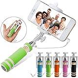 dn-technology ® Portable plegable de bolsillo Super Mini Wired selfie Stick/Palo para Selfies mano extensible monopie Mango antideslizante compatible con todos los smartphones