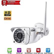 Cámara video vigilancia, LESHP IP Cámara WiFi Inalámbrica Impermeable IP66 P2P Full HD 1080P 2MP IR Nocturna con detección de movimientos compatible con iOS, Android