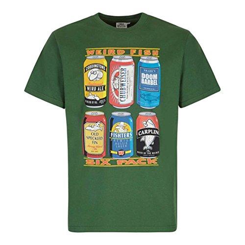 Preisvergleich Produktbild Weird Fish Mens 6-Pack Bier-Dosen-Grafik-T-Shirt Olive S