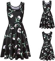 Women Dress, Women Sleeveless Printing Summer Beach A Line Casual Dress Floral Dress Holiday Summer Beach Skir