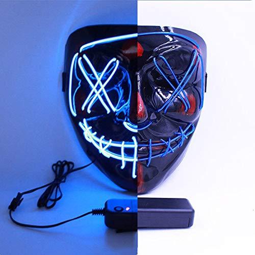 Lorenory Halloween Masken Wimperntusche Kostüm DJ Party Licht Farben Lustig Festival Cosplay Kalt Leuchtend Dauerinverter Weihnachten (Color : Blue Light)