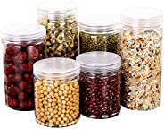 Coxeer 6PCS Clear Storage Container Portable Kitchen Food Jar Freezer Food Container