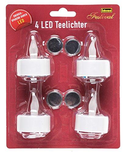Idena 408998 - 4 LED Teelichte, elektrische Kerzen mit flackerndem Licht, inklusive Batterien, Deko für Hochzeit, Party, Weihnachten, Ostern, als Stimmungslicht