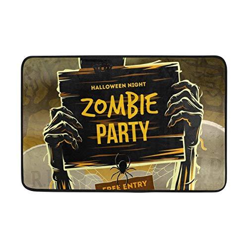 yting Die Arme des Toten Mannes Halloweens vom Boden mit Einladung zur Zombie-Party rutschfeste Fußmatte Wohnkultur, langlebig Indoor Outdoor Eingang Teppich Teppich Haustier Matte 40 x 60 cm