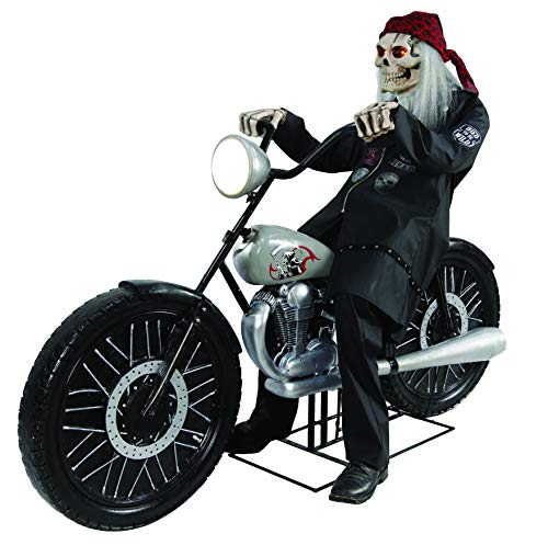 CTC Halloween Figur Highway Hellrider Animatronic Skelett auf Motorrad lebensgroß