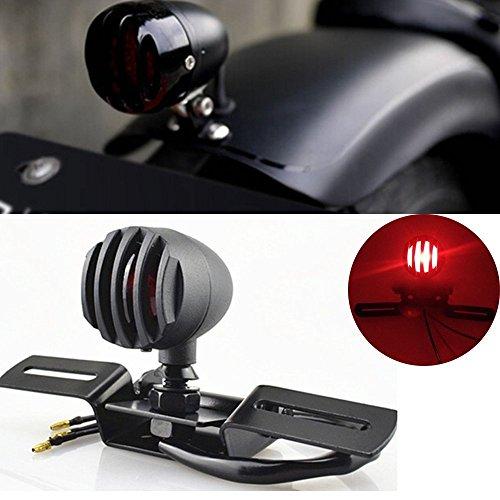 katur 112V 10W Motorrad Rücklicht Stop Lizenzen Bremse Lampe für Chopper Bobber Cafe Racer, Bullet Stahl Gehäuse Motorräder Licht für Harley - Stop-lampe Linse