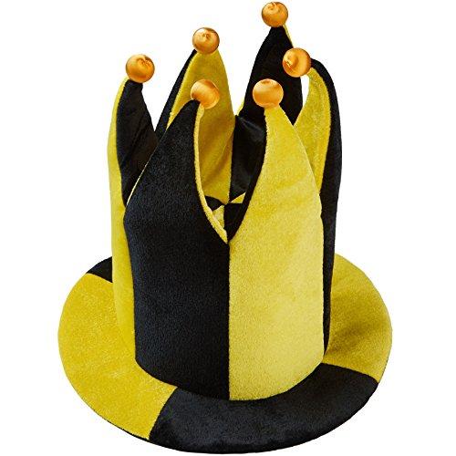 Hofnarr Kostüm Mädchen - dressforfun 302060 - Schwarz-gelber Hofnarren Hut, sechs Zacken am oberen Ende mit Kugeln in Glöckchenform, perfekt für Narren- oder Fußballkostüme