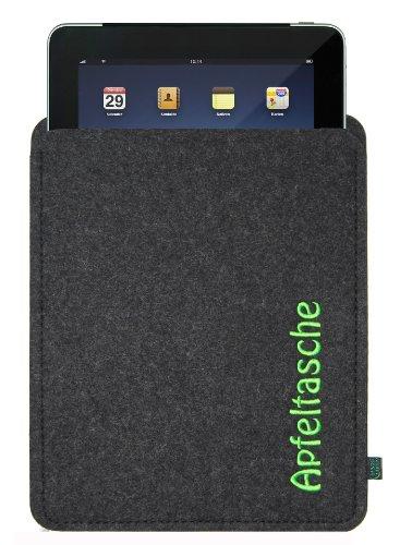 Filztasche für iPad mit Stickerei Apfeltasche; Größe für iPad2, iPad3 und iPad Generation 4, ggf. auch für andere Tablets geeignet (Krone-wappen-stickerei)