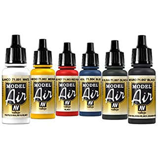 Airbrush Farben 6 x 17 ml Vallejo Model Air Basis Farben-Set Airbrushfarben