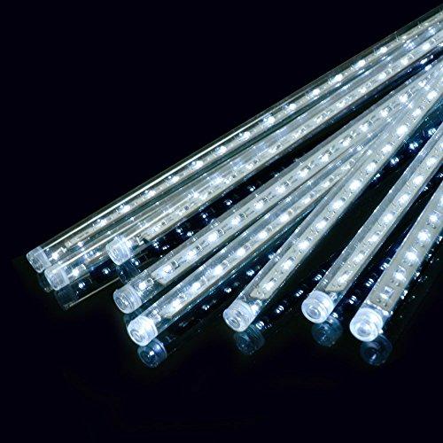 Ecloud Shop LED Météores Douches de Fête, 30cm 8 Tube LED Guirlandes Ficulaires Chute de Pluie Goutte Glaçon Neige Automne Chaîne Lumières Étanches pour Les Fêtes de Noël Arbre Valentine Déco (Blanc)