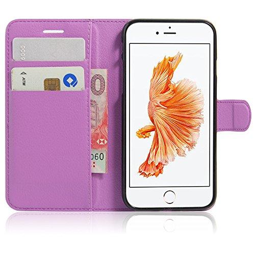 Qiaogle Téléphone Coque - PU Cuir rabat Wallet Housse Case pour Apple iPhone 7 (4.7 Pouce) - FC02 / Noir Classique Mode affaires Style FC09 / Violet Classique Mode affaires Style