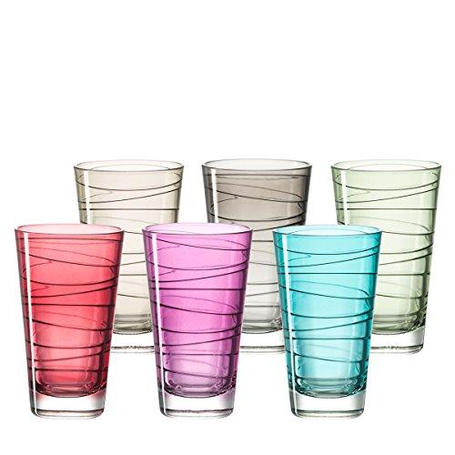 Leonardo 047285 Vario Set 6 Becher groß farbig sortiert, Glas, mehrfarbig, 7.5 x 7.5 x 12.6 cm, 6 Einheiten