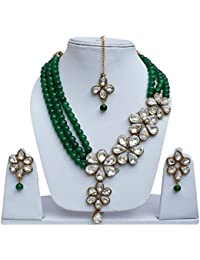 Lucky Jewellery Elegant Green Color Beads Layered White Stone Necklace Set For Girls & Women