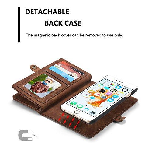 SDDMALL CaseMe abnehmbare Reißverschluss-Mappen-Leder-Kasten für Apple IPhone 6s plus 5.5 ( Color : Red ) Coffe