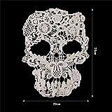 Yulakes Style punk Motif tête de mort Floral Corded Motif brodé de dentelle Applique pour robe de mariée Voile de mariée Robe de mariée DIY
