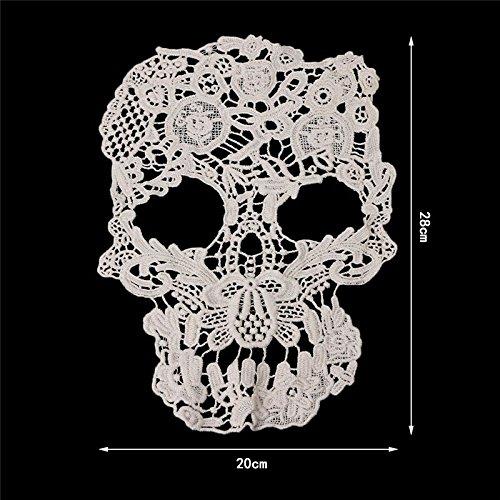 Yulakes Punk Stil Schädel Muster Schnurgebundene Stickerei Spitze Applique Motiv für Brautkleid Brautschleier Hochzeits Kleider DIY (Spitze Schnurgebundenes)