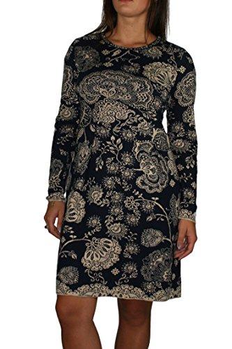 Tailliertes Kleid aus prachtvollem Baumwoll-Jacquard von Ivko in Marine (42) (Kleid Sophias Stil)