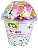 Lena 32002 - Bastelset Holzperlen in Cupcake Dose, mit 200 Fädelperlen, 3 Anhänger und 3 Schnüre, pink, Holzfädelperlen Set für Kinder ab 4 Jahre, Perelen Set zum selber gestalten von Schmuckketten