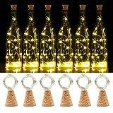 (6 Stück) 20 LEDs 2M Kork Flaschen Lichter, SHINYMOD LED Lichterketten Batteriebetriebene Flaschenlicht Kupferdraht für DIY, Party, Dekor, Weihnachten, Hochzeit,Stimmung Lichter(6 Warmweiß)