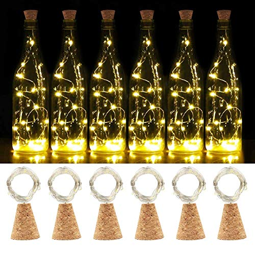 (20 LEDs 2M Kork Flaschen Lichter, SHINYMOD LED Lichterketten Batteriebetriebene Flaschenlicht Kupferdraht für DIY, Party, Dekor, Weihnachten, Hochzeit,Stimmung Lichter(6 Warmweiß))