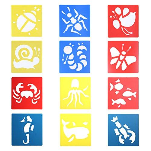 12 Stück Kunststoff Schablonen Set Kinder für Tagebuch Schablone Planer/Notebook/Diary/Scrapbook Malerei Craft Projekte Drawing Painting Stencils Scale Template Meerestiere und Insekten Design