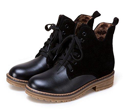 Aisun Femme Classique Low Boots à Lacets Bottines Noir