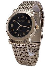 Los hombres '' s Alpine plateado con cara azul marino Metal analógico reloj japonés cuarzo