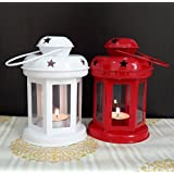 Home Decor Hand Crafted Lantern Tea Light Holder With Tealight Candle Set Of 2(White And Red) - B074RJR2QR