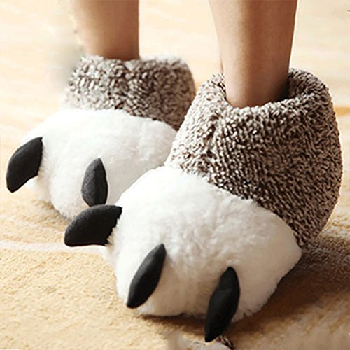 Uomini Donne animale mostro piedi pantofole di cotone, Zampa di Orso, peluche scarpe, 40-41