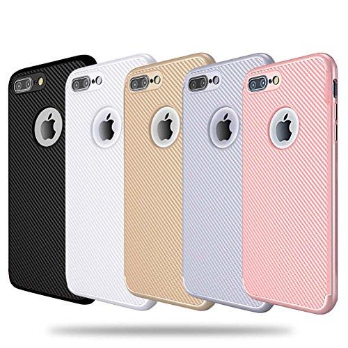 "MOONCASE iPhone 7 Plus Coque, Fibres de Carbone Housse Resilient TPU Etui Antichoc Protection Armure Case pour iPhone 7 Plus 5.5"" Argent Or"