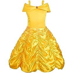 Alead Disfraz de princesa Belle vestido y accesorios, guantes, tiara, varita y collar (4-5 años)