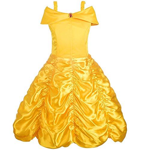 Alead Prinzessin Kostüm Belle Kleid und Zubehör, Handschuhe, Diadem, Zauberstab und Halskette (4-5 Jahren)