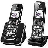 Panasonic KX-TGD312 - Teléfono fijo inalámbrico Dúo (LCD, identificador de llamadas, agenda de 120 números, bloqueo de llamada, modo ECO, reducción de ruido), color negro