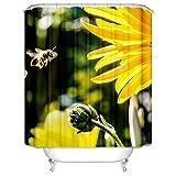 SonMo Duschvorhang Wasserdicht Anti Bakteriell Anti-Schimmel Badezimmer Vorhänge mit Duschvorhangringen Bienenblumen Polyester Bunt Blickdicht 3D Digitaldruck Wasser Beständig Als Trennwand 150X200CM