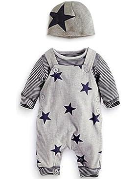 LHWY 3Pcs Set Neonato Set Stripe T-Shirt Top Pantaloni Salopette Cappello Completo Set