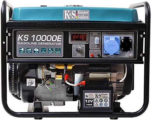 Könner & Söhnen KS 10000E Stromerzeuger, 18 PS 4-Takt Benzinmotor, Kupfer, E-Start, Automatischer Spannungsregler, Anzeige, 1x16A, 1x32A (230V) Generator, für privaten oder gewerblichen Gebrauch