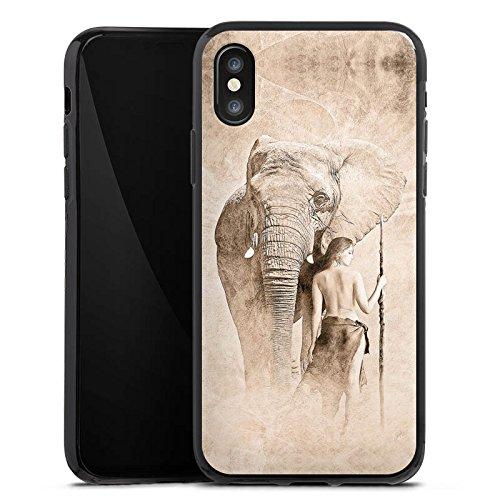 Apple iPhone X Silikon Hülle Case Schutzhülle Elefant Frau Wüste Silikon Case schwarz