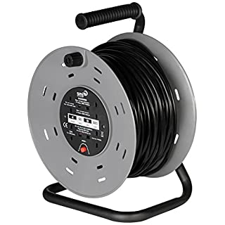 SMJ Electrical CTH5013 SMJ CTH5013-4SKT 50MTR 13A Heavy Duty Cable Reel with Thermal Cut-Out, 50 meter