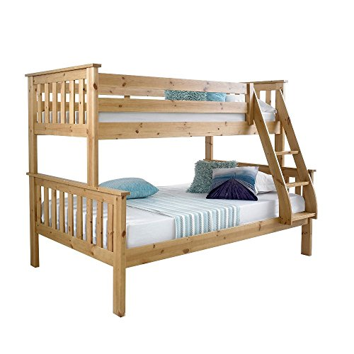 Happy Beds Atlantis Pine Finished Solid Wooden Triple Sleeper Bunk Bed Frame